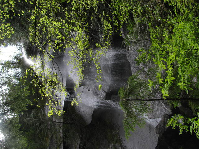 The waterfall from the bottom